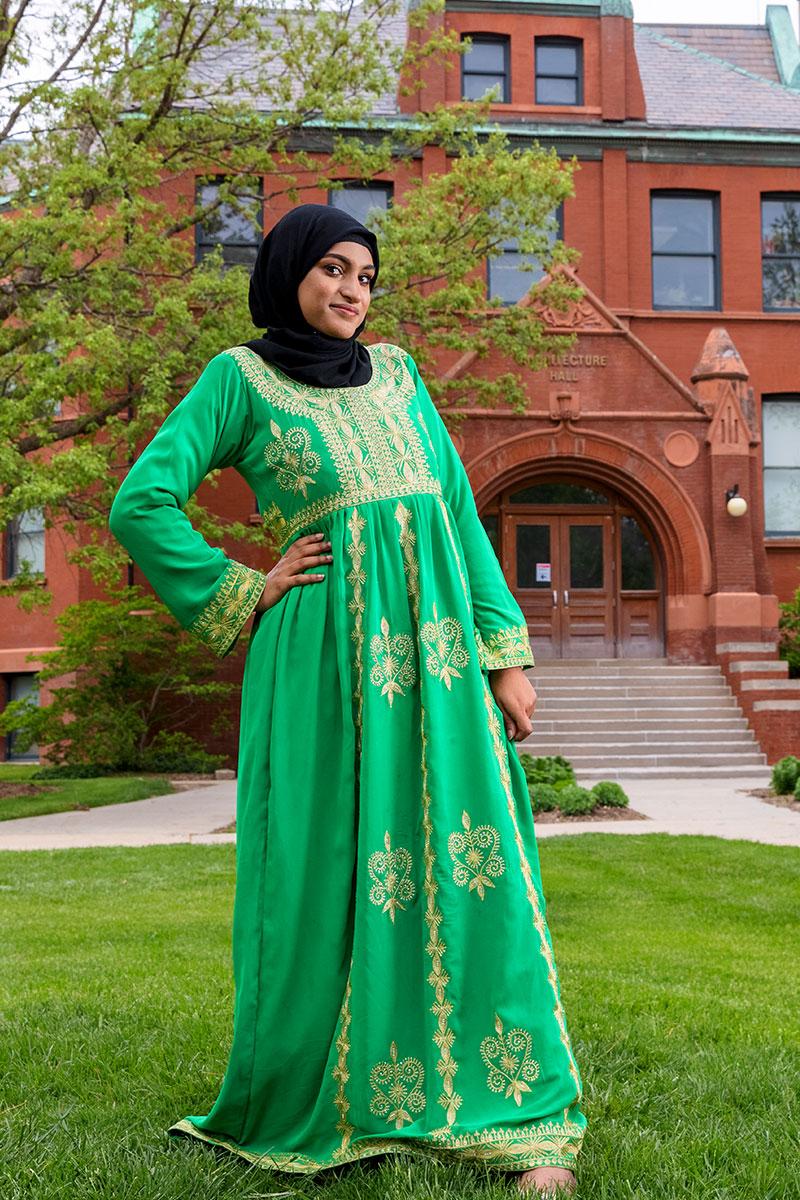 Wijdan in a green dress